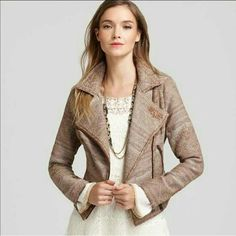Free People Jacquard Moto Jacket Rich brown and cream jacquard fabric. Soft and flexible with great tailoring for structure. Stylistic distressing throughout the fabric. YKK zipper details on the sleeves and up the front in the long the side pockets. All functioning so you can tailored to your desired style. Unlined but all the seams inside are fully covered with fabric for longevity. Looks new on the outside. Mild pilling on the inside. Price firm unless bundled. Free People Jackets & Coats