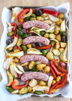 Lisa's Dinnertime Dish: Sheet Pan Dinner with Bratwurst and Roasted Vegetables