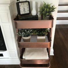 The Ikea Raskog blue cart got a makeover! The blue was not working for me after my teenager didn't want this anymore. Gave it a new life with some rose gold spray paint! And it turned out beautifully! #ikea #raskog #diy #makeover #repurposed