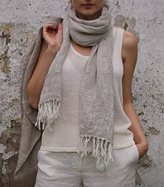 Handmade Linen Shawl With Hand Knotted Fringe Oatmeal.