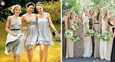 Bridesmaids mismatched grey neutral romantic