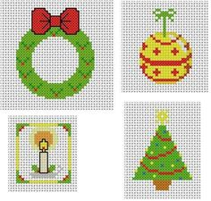 Here is a set of four very simple cross-stitch patterns suitable for toppers on Christmas cards. There is a tree, a wreath, a bauble and a
