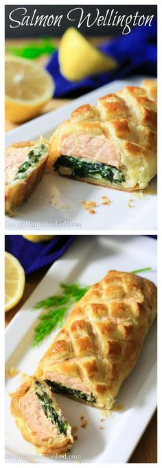 Seasoned salmon placed on a bed of cheesy sauteed spinach, wrapped in puff pastry, and baked to perfection.