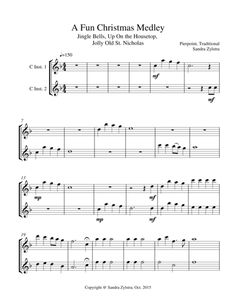 """A delightful mix of """"Jingle Bells"""", """"Up On The Housetop"""" and """"Jolly Old St. Nicholas"""" makes this instrument duet fun for both the performers and the audience. The piano part is also available for purchase separately. You may also purchase any duet combinations together to fit your needs. Instrumental duet parts are available for Treble C, Bass C, Bb, Eb, and F instruments.(Approximately 3 minutes, 3 pages)."""