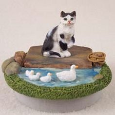 Shorthaired Black & White Cat Candle Topper Lake