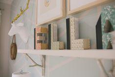 Books carved into letters - fun nursery decor idea!