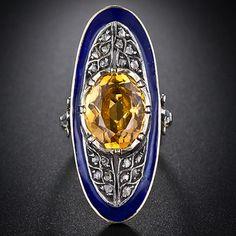 Georgian Citrine, Rose Cut Diamond and Enamel Ring.
