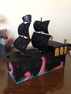 Pirates of the Caribbean: The Black Pearl Pirate Ship Valentine box for my 5 year old son!!!! Complete with the Kraken