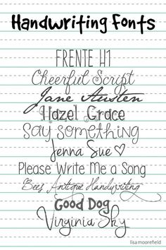 Free Handwriting Fonts at LisaMoorefield / ALittleScrapbooking ~~ {10 free fonts w/ links}