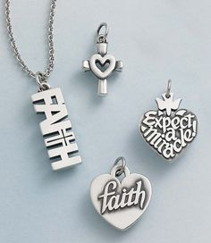 """Centered in Love Charm, """"Expect-A-Miracle"""" Charm, Heart of """"Faith"""" Charm and """"Faith"""" Charm (chain sold separately) #JamesAvery"""