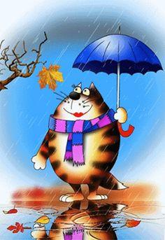 Гиф анимация И в снег, и в дождь грустный мартовский котик ждет свою любовь
