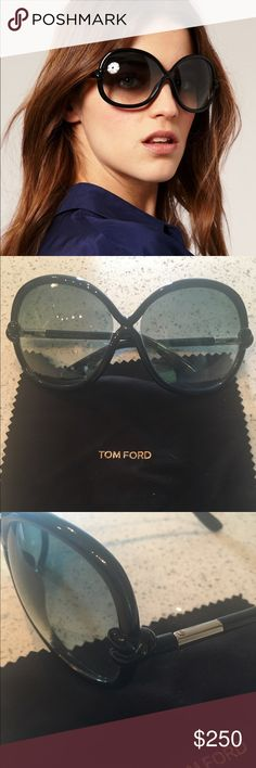 Tom Ford Sonja Sunglasses TF185 These Tom Ford TF185 01B Sunglasses feature glamorous black oversized oval full rim double bridge tubular frame. The design is nicely accentuated with gold tone hinges, black tubular arms and two small triangular cutouts adjacent to bridge. The green gradient lenses complete this offering in a most appropriate fashion. Comes with box, case, cleaning cloth and papers. In VERY GOOD condition Tom Ford Accessories Sunglasses