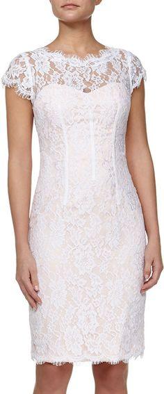 ML Monique Lhuillier Lace Cutout Sheath Dress, White/Petal