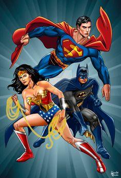 Wondy - ❤️- The Trinity of justice by hamletroman on DeviantArt Batman E Superman, Supergirl Superman, Marvel Dc Comics, Dc Heroes, Comic Book Heroes, Comic Books Art, Comic Art, Dc Trinity, Univers Dc