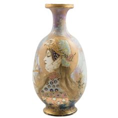 Amphora Portrait Vase, Allegory, made by Riessner, Stellmacher & Kessel, Germany 1902