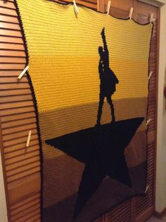 Crochet afghan chart based on Hamilton the Musical cover art - I think this calls for a trip to the craft store.
