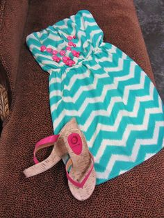 white and blue chevron with a splash of pink accessories