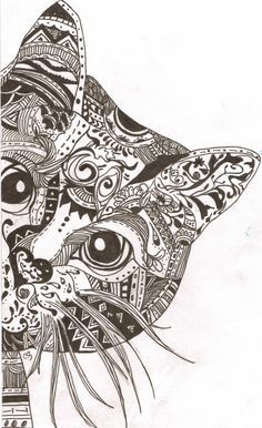 Cat Zentangle by SenseOfImagination on Etsy, $15.00
