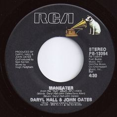 Maneater / Hall & Oates / on Billboard 1982 45 Records, Vinyl Records, Good Music, My Music, John Oates, Daryl Hall, Hall & Oates, Record Art, Vinyl Labels