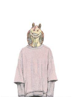 "davidmurrayillustration: "" Jar Jar Binks wearing Yeezy x Adidas Originals Fall 2015 Collection """