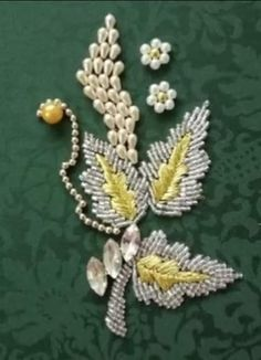 Bead Embroidery Patterns, Beaded Embroidery, Neck Designs For Suits, Brooch, Beads, Jewelry, Needlepoint, Beading, Jewlery