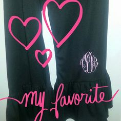 Womens Monogrammed Cropped Black Big Ruffle Pants Matilda Jane inspired