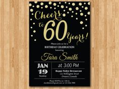 60th birthday invitation. Gold Glitter. Cheers to 60 Years Birthday Party. 30th 40th 50th 60th 70th 80th 90th any age. Printable digital.