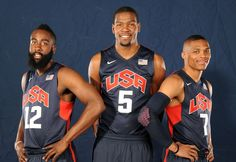Oklahoma City Thunder teammates James Harden, Kevin Durant and Russell Westbrook