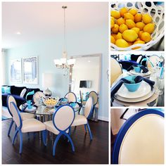 #homedecor inspiration from The Douglas #townhome model at #ArcadiaFieldstone in #Winchester #VA #blue #dining #furniture