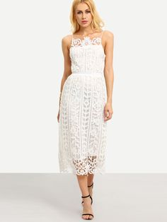 Hollow Out Lace Cami Dress - White 26.99