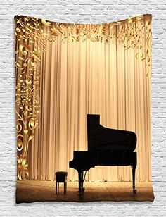 Gold Tapestry by Ambesonne Concert Theatre Stage Drapes Grand Piano with Ornaments Bedroom Living Room Modern Art Photo Prints Fashion Style Decor Tapestry Hanging Dorm Bedroom Living Room Gold Black *** You can find out more details at the link of the image.