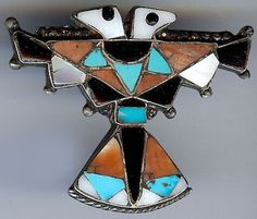 VINTAGE ZUNI INDIAN STERLING INLAID TURQUOISE ONYX TWO HEAD THUNDERBIRD PIN