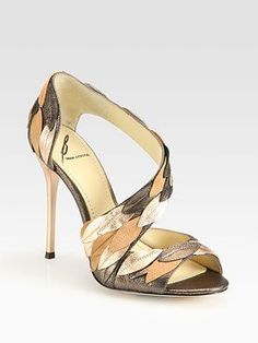 B Brian Atwood Lunetta Metallic Leather & Suede Leaf Sandals Super cute! #brianatwoodheelsdresses