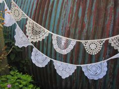 Vintage Doily Bunting.  Crochet Vintage  doilies in off White.