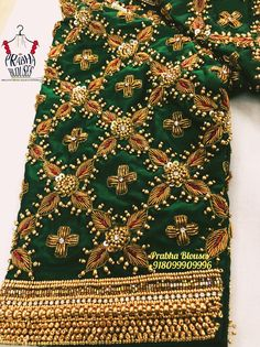 You don't need a temple jewellery when you've Diamonds as your best friend! Peacock Embroidery Designs, Simple Embroidery Designs, Embroidery Patterns, Hand Embroidery, Wedding Saree Blouse Designs, Best Blouse Designs, Mirror Work Blouse Design, Saree Tassels Designs, Zardosi Embroidery