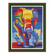 Modern Cross Stitch Pattern, Elephants Cross Stitch Pattern, Cross Stitch Patterns, Modern, Elephant