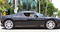 George Clooney Spotted in his Black Tesla Roadster