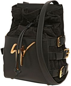 57fabf901d Giuseppe Zanotti - Black Side Buckled Suede Nappa Leather Bag - Lyst
