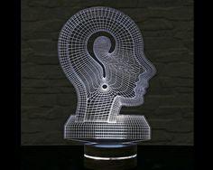 3D LED Lamp, Thinking Man Shape, Decorative Lamp, Home Decor, Table Lamp, Office Decor, Plexiglass Art, Art Deco Lamp, Acrylic Night Light by ArtisticLamps