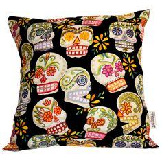 Sugar Skulls Cushion In Black