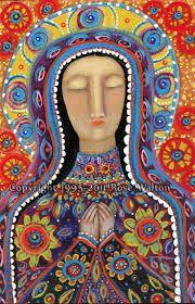 The Mexican Madonna primitive religious folk art archival giclée print by Pennsylvania folk artist Rose Walton