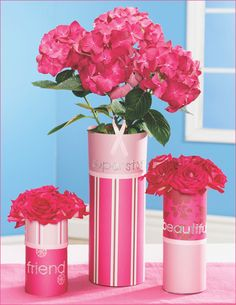 Pink Ribbon Trio Centerpiece. Love the bling words, make the flowers pink carnations!