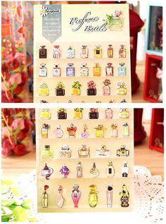 vintage perfume glass bottle sticker Fancy by StickersKingdom