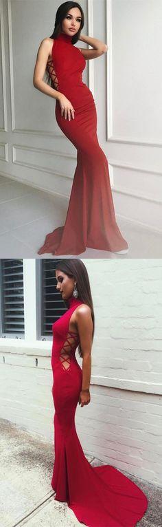 high neck mermaid red long prom dress evening dress wedding party dress formal evening dress