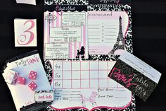 Bunco game set printable: Pink Parisian French #paris #poodle #pink