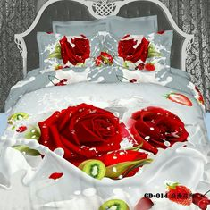 Queen's Romantic Big Red Rose Fruit Milk Cotton 800 Thread Count Fitted Sheet Set (With Rubber Around) Twin&full&queen&king Size Comforter Sets Bedding Sets Duvet Cover Set Bed Sets Bed Cover Set Quilt Cover Set Bedclothes Bedspread Bed King Size Comforter Sets, King Size Comforters, 3d Bedding Sets, Cotton Bedding Sets, Cotton Duvet, Bed Cover Sets, Quilt Cover Sets, Bed Sets, Strawberry Beds