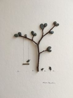 Swing with birds pebble art by sharon nowlan by PebbleArt on Etsy