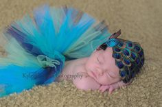 baby tutu peacock with matching feather pad by cutiepiegoodies, $38.00