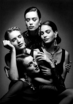 Judit Mascó, Helena Barquilla, Celia Forner and Inés Sastre, photographed by Jeanloup Sieff for Spanish Vogue, Paris, 1992.