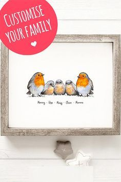 Let our professional illustrators craft you the perfect family of robins. Every drawing is totally unique and personalised for a once-in-a-lifetime gift. Art Alevel, Family Illustration, Family Print, Bird Artwork, Frame Crafts, Bird Drawings, Woodland Creatures, Christmas Art, Xmas